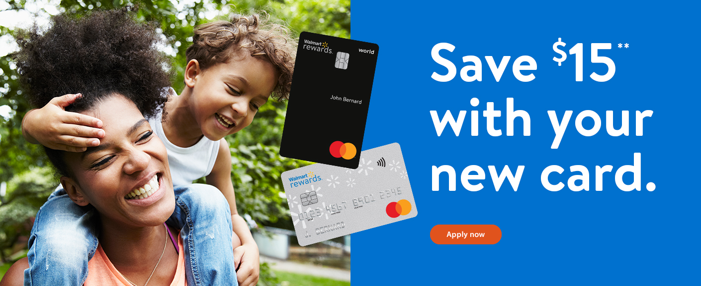 Save $15** with your new card. Apply now